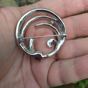 Vintage Jewelry - Vintage 1950's Circle Silver Rhinestone Brooch